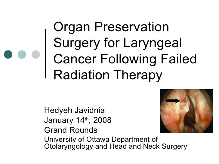 Organ Preservation Surgery for Laryngeal Cancer Following Failed Radiation Therapy Hedyeh Javidnia January 14 th , 2008 Gr...