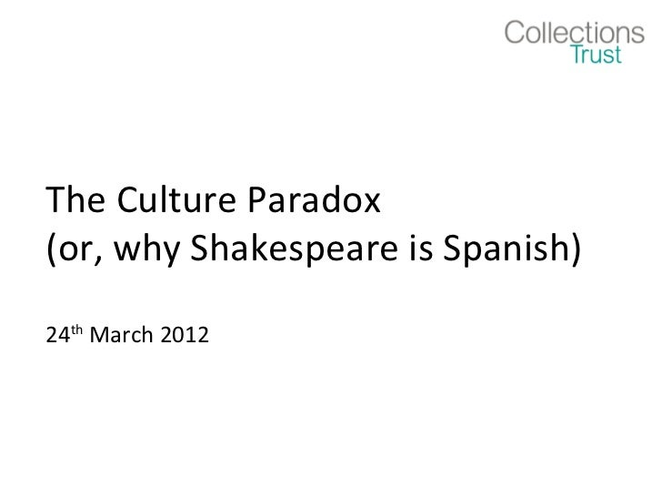 The Culture Paradox(or, why Shakespeare is Spanish)24th March 2012
