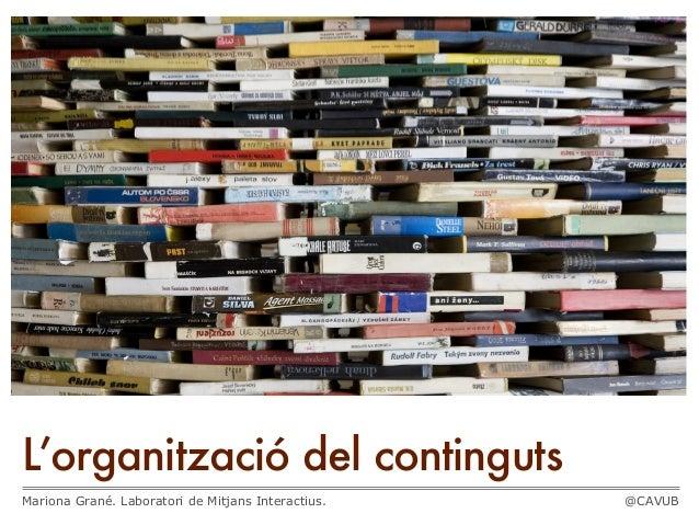 L'organització del contingutsMariona Grané. Laboratori de Mitjans Interactius. @CAVUB