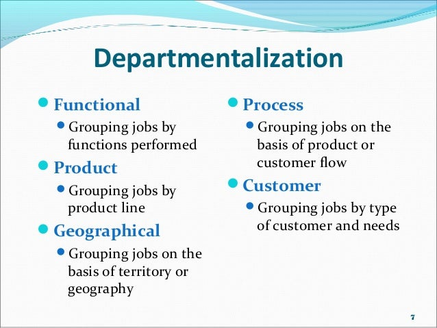 departmentalization geography and example human resources 1 explain the difference between authority and power: 2 explain the 5 types of power: 3 define centralized and decentralized organizational structures: 4.