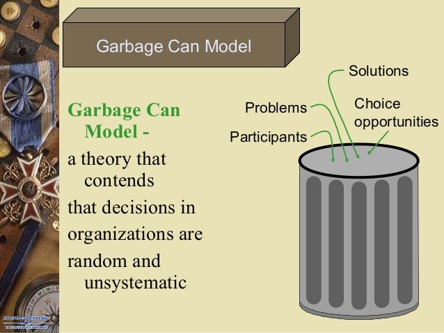 a garbage can model of organizational choice by cohen march The garbage can (gc) model conceives of organizations as conglomerates of semiautonomous (cohen and march 1974  a garbage can model of organizational choice.