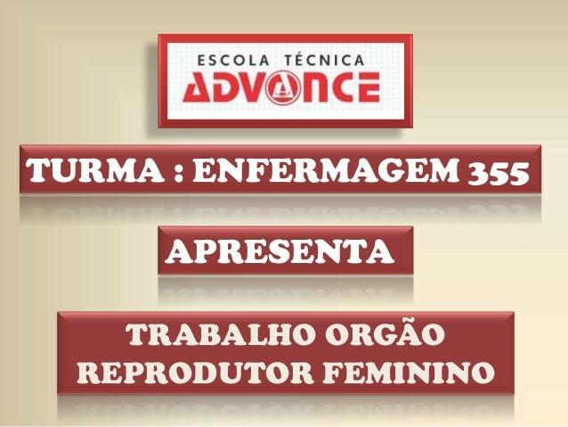 APRESENTA TURMA : ENFERMAGEM 355 TRABALHO ORGÃO REPRODUTOR FEMININO