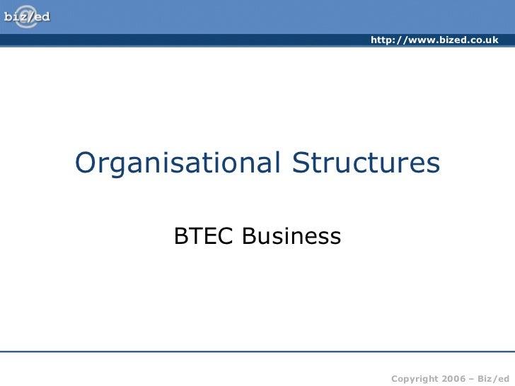 http://www.bized.co.ukOrganisational Structures      BTEC Business                         Copyright 2006 – Biz/ed