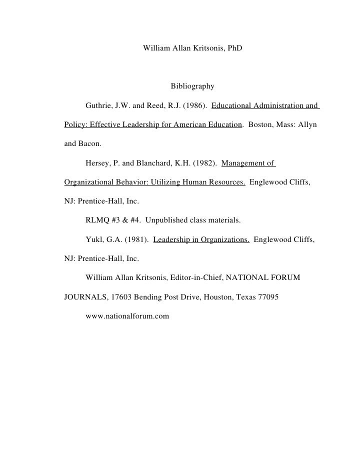 William Allan Kritsonis, PhD                                     Bibliography        Guthrie, J.W. and Reed, R.J. (1986). ...