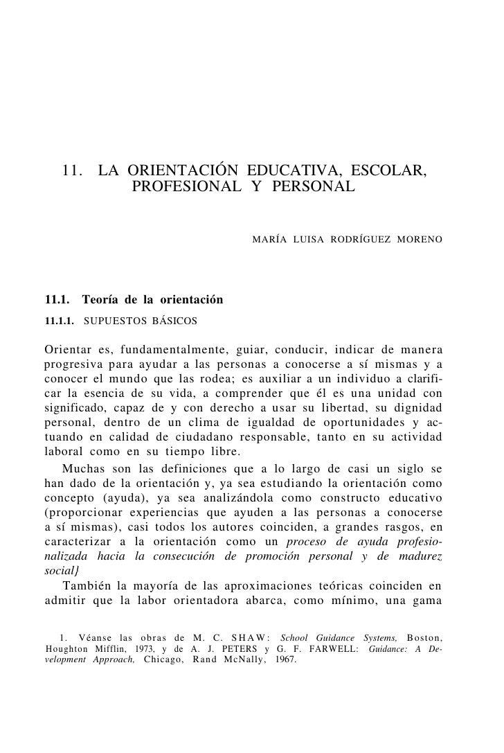 11. LA ORIENTACIÓN EDUCATIVA, ESCOLAR,           PROFESIONAL Y PERSONAL                                          MARÍA LUI...