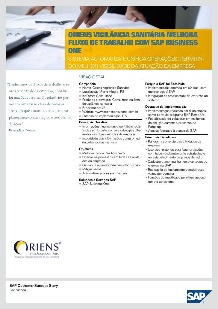 Oriens Vigilância Sanitária melhora                                     fluxo de trabalho com SAP Business                ...