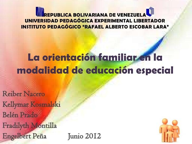 Orientacion en educacion especial venezuela