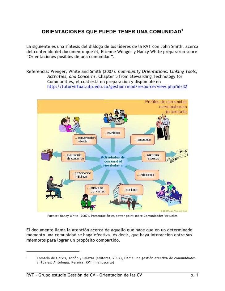 ORIENTACIONES QUE PUEDE TENER UNA COMUNIDAD1  La siguiente es una síntesis del diálogo de los líderes de la RVT con John S...