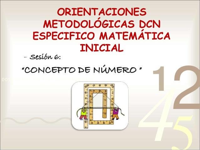 """4210011 0010 1010 1101 0001 0100 1011 ORIENTACIONES METODOLÓGICAS DCN ESPECIFICO MATEMÁTICA INICIAL – Sesión 6: """"CONCEPTO ..."""