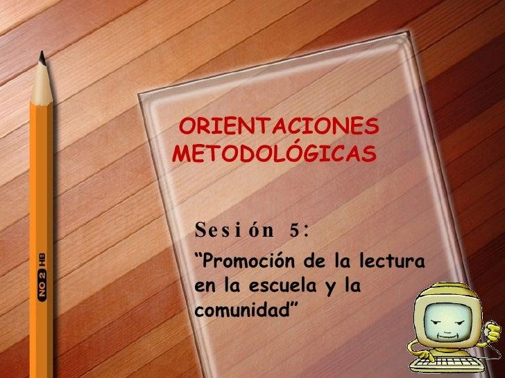 """ORIENTACIONES  METODOLÓGICAS  Sesión 5:   """" Promoción de la lectura en la escuela y la comunidad"""""""