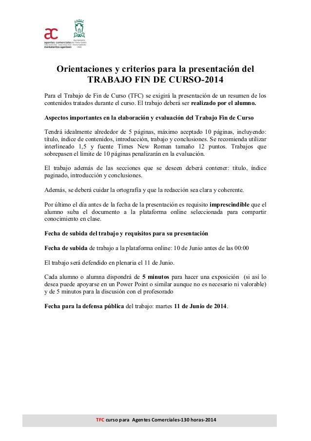 TFC  curso  para    Agentes  Comerciales-‐130  horas-‐2014 Orientaciones y criterios para la presenta...