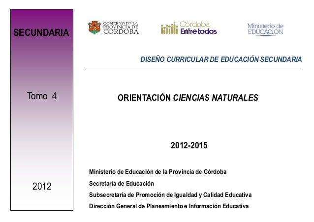 SECUNDARIA                               DISEÑO CURRICULAR DE EDUCACIÓN SECUNDARIA  Tomo 4               ORIENTACIÓN CIENC...