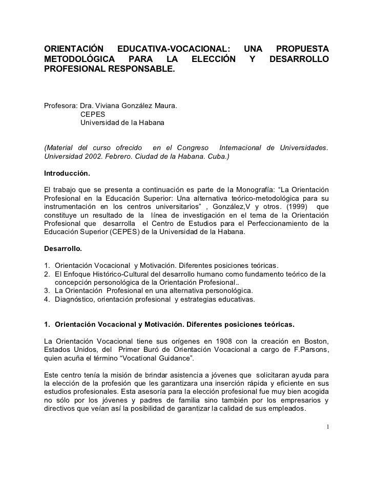 ORIENTACIÓN   EDUCATIVA-VOCACIONAL:  UNA  PROPUESTA METODOLÓGICA    PARA   LA   ELECCIÓN  Y  DESARROLLO PROFESIONAL RESPON...