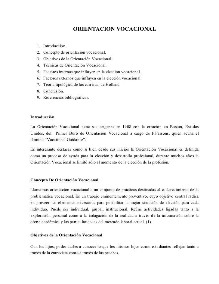 ORIENTACION VOCACIONAL     1.   Introducción.    2.   Concepto de orientación vocacional.    3.   Objetivos de la Orientac...
