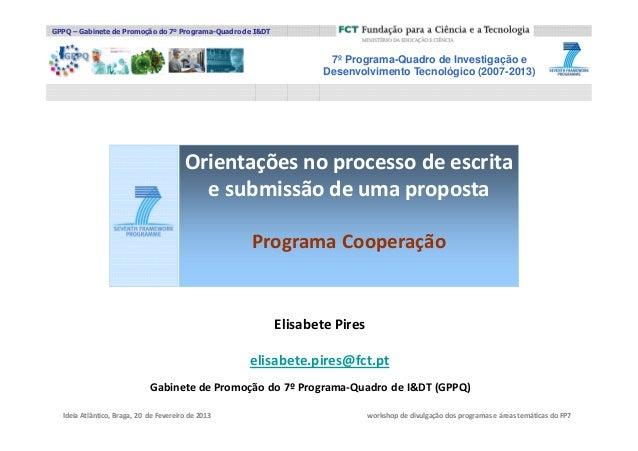 GPPQ – Gabinete de Promoção do 7º Programa-Quadro de I&DT                                                                 ...