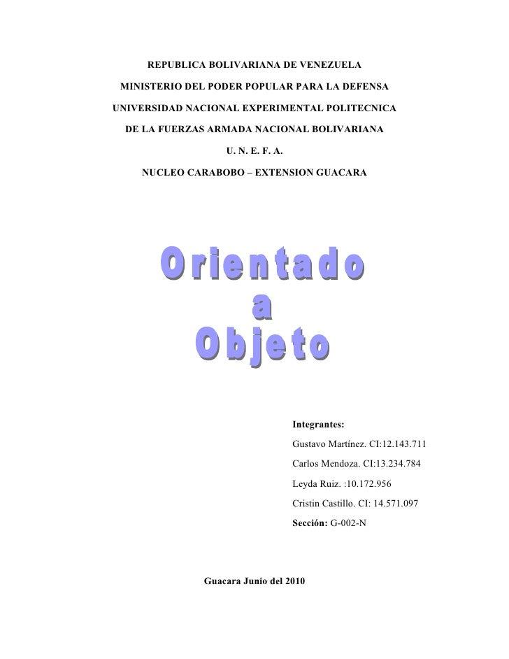 REPUBLICA BOLIVARIANA DE VENEZUELA   MINISTERIO DEL PODER POPULAR PARA LA DEFENSA  UNIVERSIDAD NACIONAL EXPERIMENTAL POLIT...