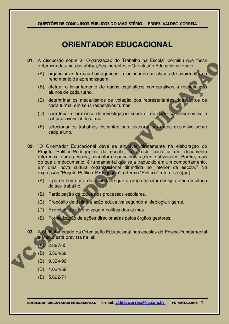 ORIENTADOR EDUCACIONAL - SIMULADO DIGITAL PARA CONCURSOS PÚBLICOS