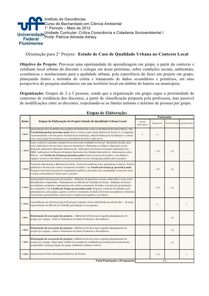Instituto de Geociências                          Curso de Bacharelado em Ciência Ambiental                          1° Pe...