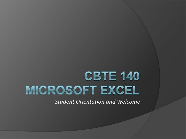 CBTE Microsoft Excel OnlineOrientation