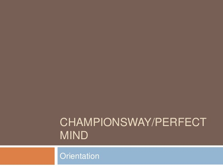 ChampionsWay Staff Training - Orientation