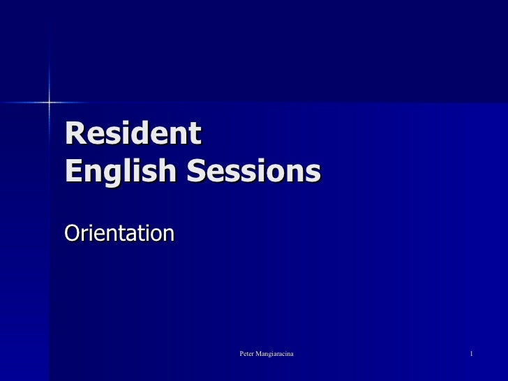 Resident  English Sessions Orientation