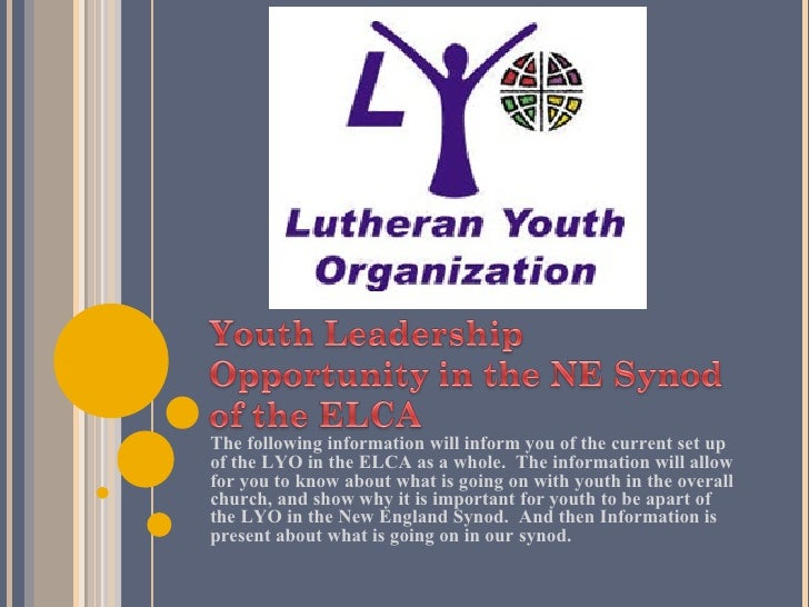 <ul><li>The following information will inform you of the current set up of the LYO in the ELCA as a whole.  The informatio...