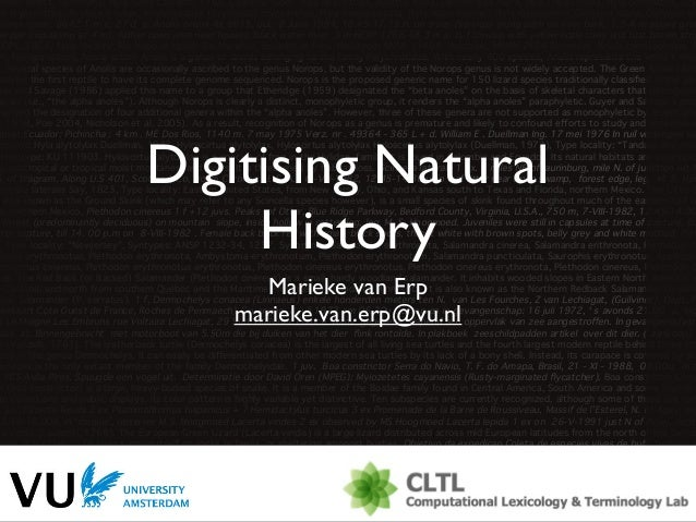 Orientation EBC 2013: Digitising Natural History