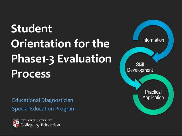 Student Orientation for the Phase1-3 Evaluation Process Educational Diagnostician Special Education Program