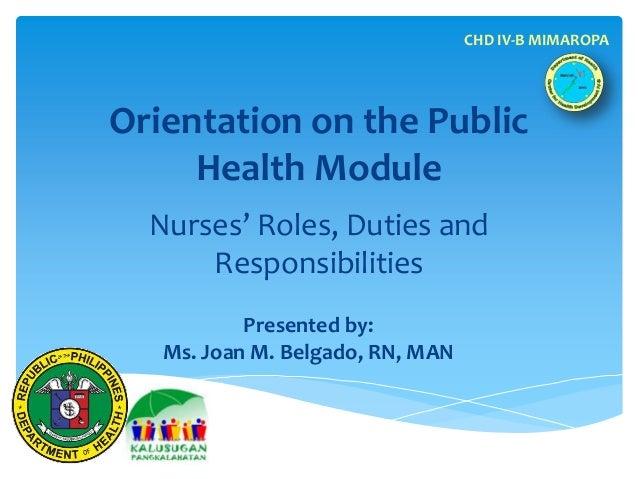 CHD IV-B MIMAROPAOrientation on the Public     Health Module  Nurses' Roles, Duties and      Responsibilities           Pr...