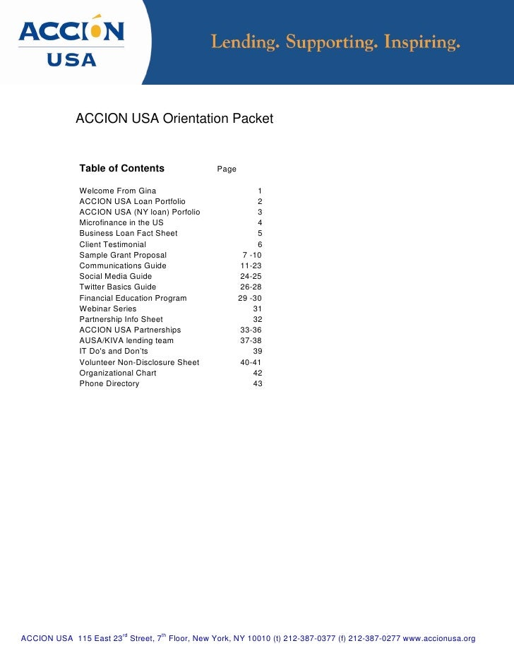 ACCION USA Orientation Packet                 Table of Contents                  Page                Welcome From Gina    ...