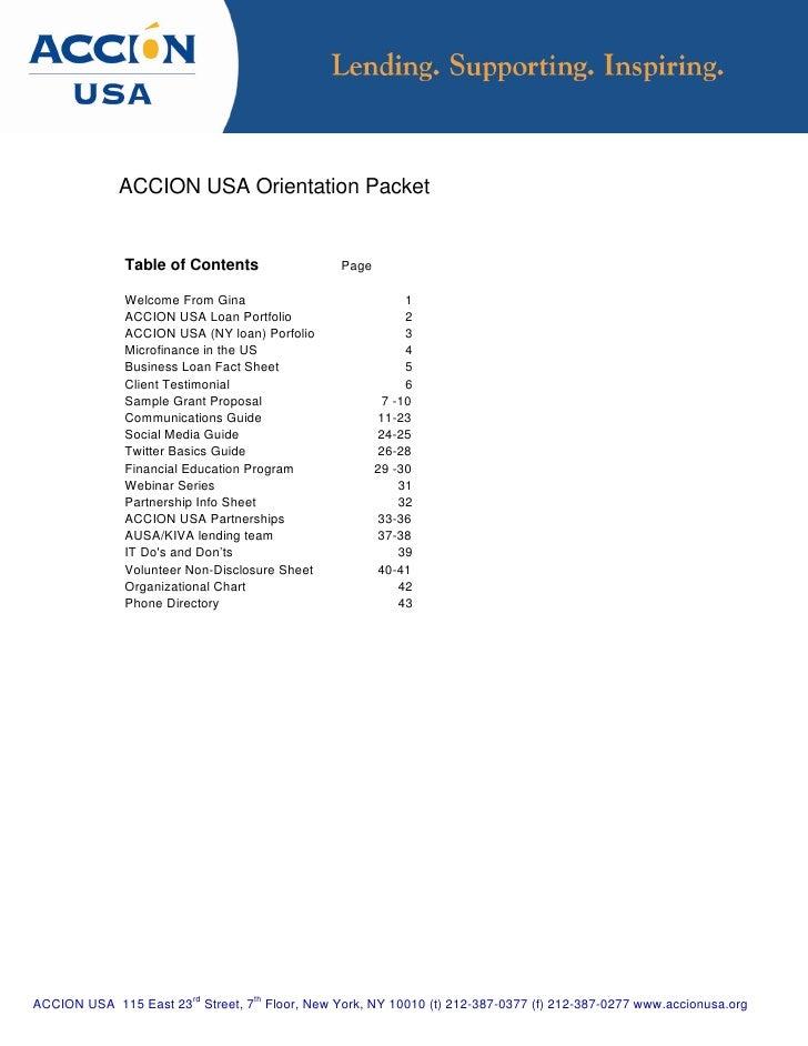 New Intern Orientation packet
