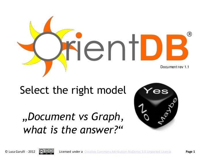 """Document rev 1.1          Select the right model           """"Document vs Graph,           what is the answer?""""© Luca Garull..."""