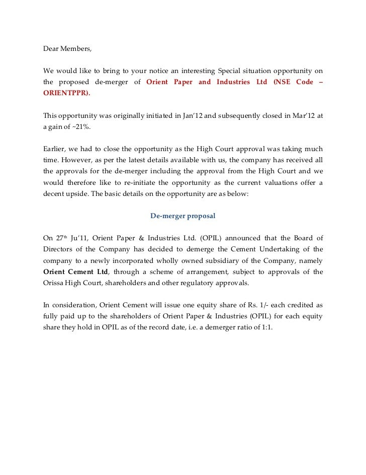 Dear Members,We would like to bring to your notice an interesting Special situation opportunity onthe proposed de-merger o...