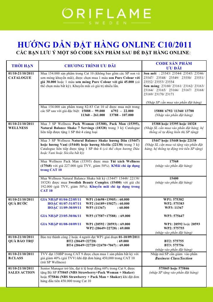 Oriflame - Huong Dan Dat Hang Online Thang 10-2011