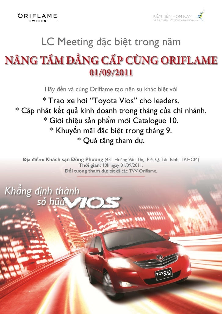 Oriflame - Lịch họp LC tháng 9/2011