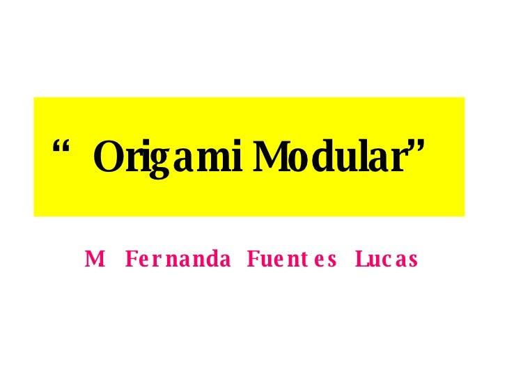""" Origami Modular"" M. Fernanda Fuentes Lucas"
