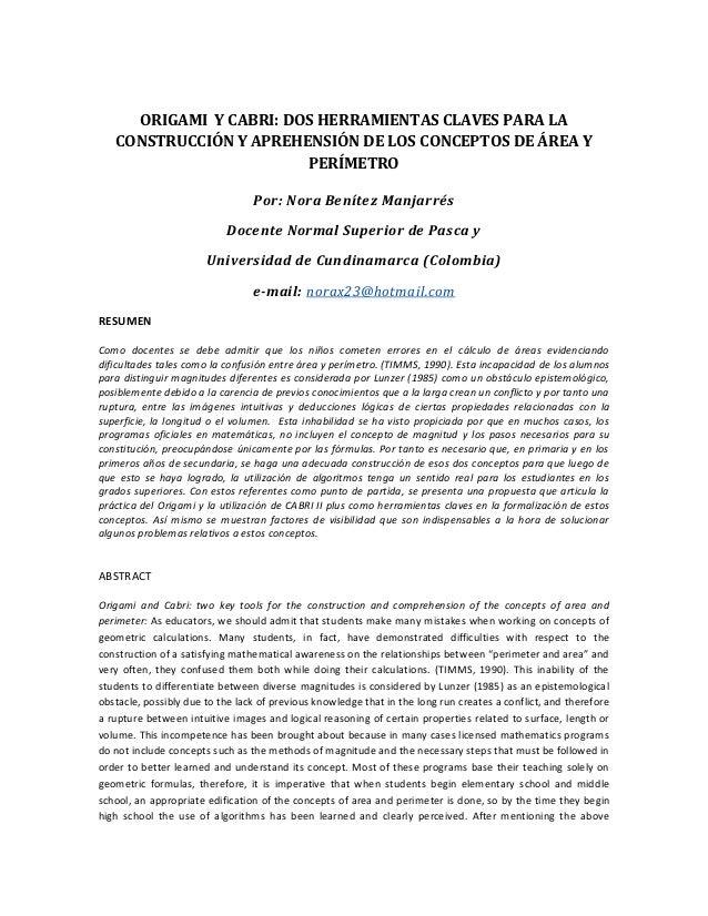 ORIGAMI Y CABRI: DOS HERRAMIENTAS CLAVES PARA LA   CONSTRUCCIÓN Y APREHENSIÓN DE LOS CONCEPTOS DE ÁREA Y                  ...