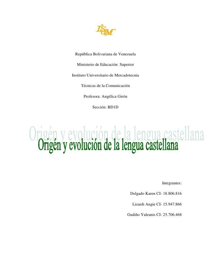 República Bolivariana de Venezuela   Ministerio de Educación SuperiorInstituto Universitario de Mercadotecnia     Técnicas...