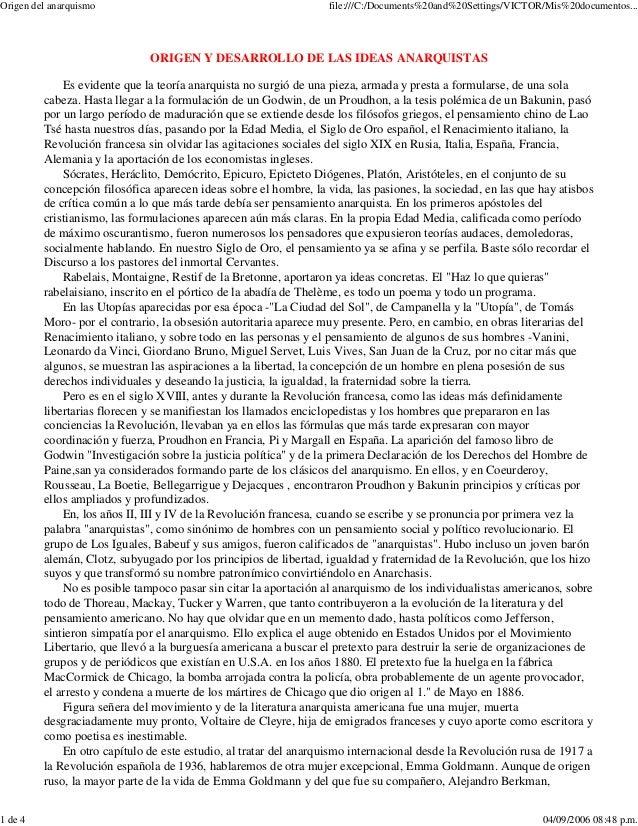 Origen del anarquismo  file:///C:/Documents%20and%20Settings/VICTOR/Mis%20documentos...  ORIGEN Y DESARROLLO DE LAS IDEAS ...