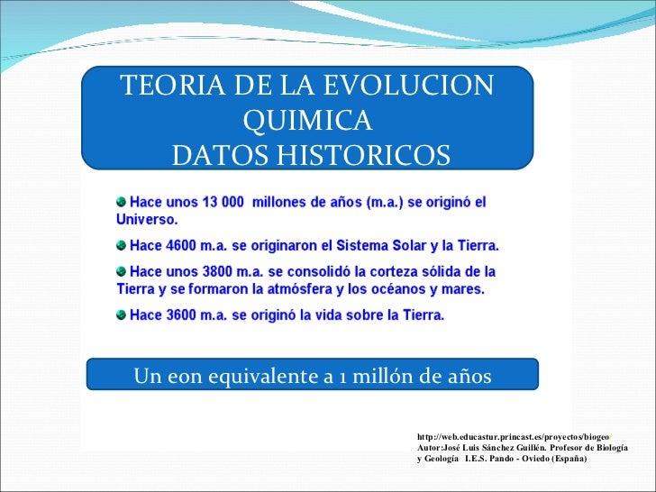 Evolucion Quimica de la Tierra la Evolucion Quimica Datos