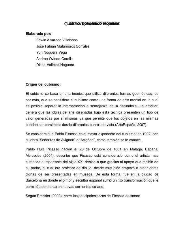 Cubismo: Rompiendo esquemasElaborado por:      Edwin Alvarado Villalobos      José Fabián Matamoros Corrales      Yuri Nog...