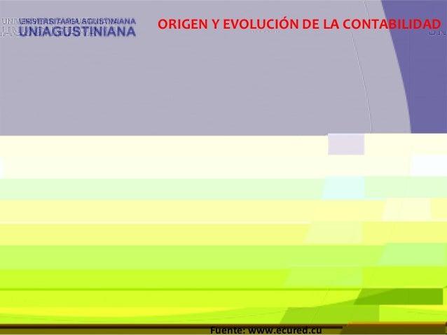 ORIGEN Y EVOLUCIÓN DE LA CONTABILIDAD Fuente: www.ecured.cu