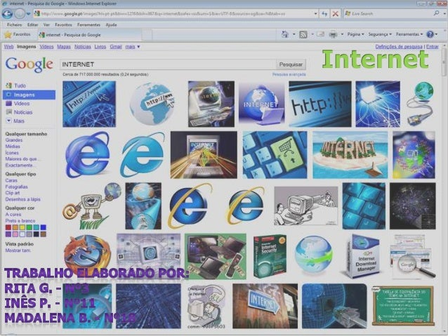 • Neste trabalho vamos falar da internet: o Da sua origem; o O que é; o O significado de WWW; o Os domínios e sufixos;  o ...
