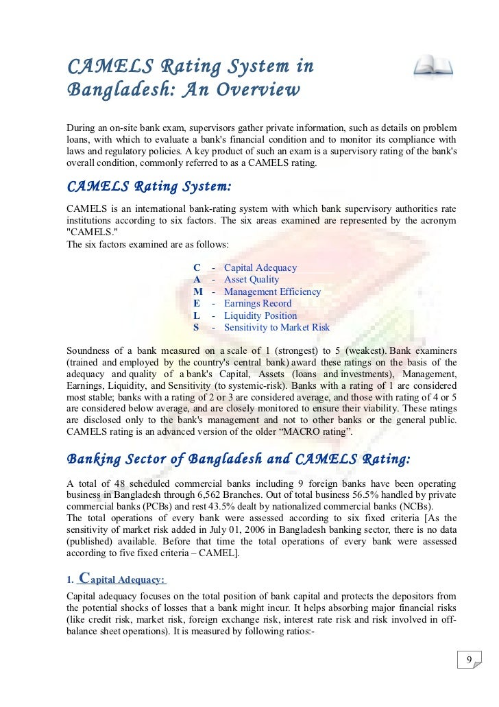 camel ratio Camels rating system the cels ratings or camels rating is a the ratings are assigned based on a ratio analysis of the financial statements the system became internationally known with the abbreviation camel, reflecting five assessment areas: capital.
