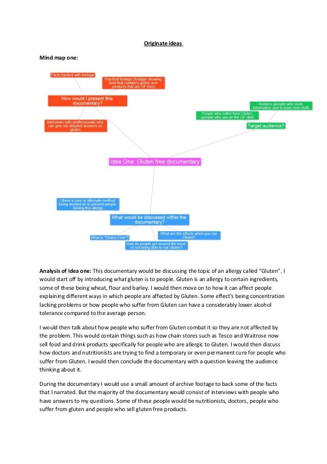 "Originate ideasMind map one:Analysis of idea one: This documentary would be discussing the topic of an allergy called ""Glu..."