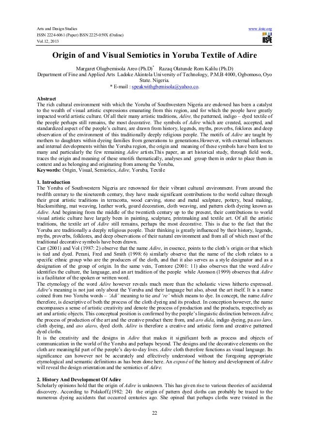 Origin of and visual semiotics in yoruba textile of adire