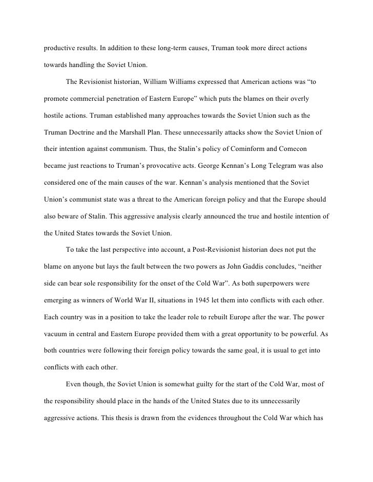 the cold war essay conclusion Conclusion as the 1990s began, the cold war was finally over and the united  states was the sole remaining superpower but hopes for a safer, more peaceful .