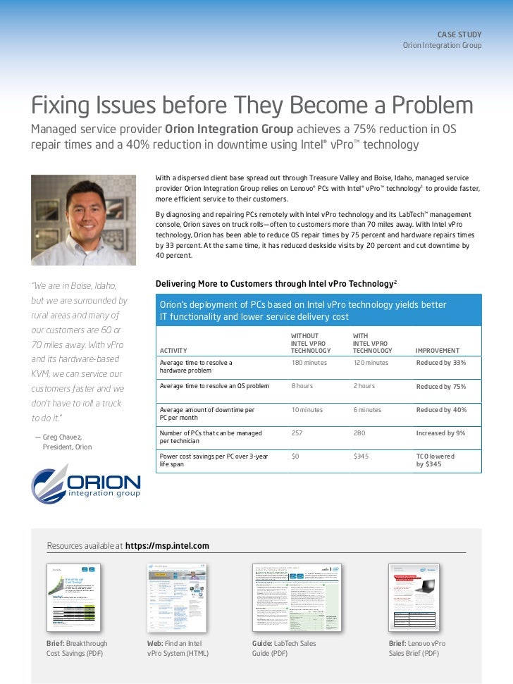Orion Integration Group - Fixing Issues before the become a problem