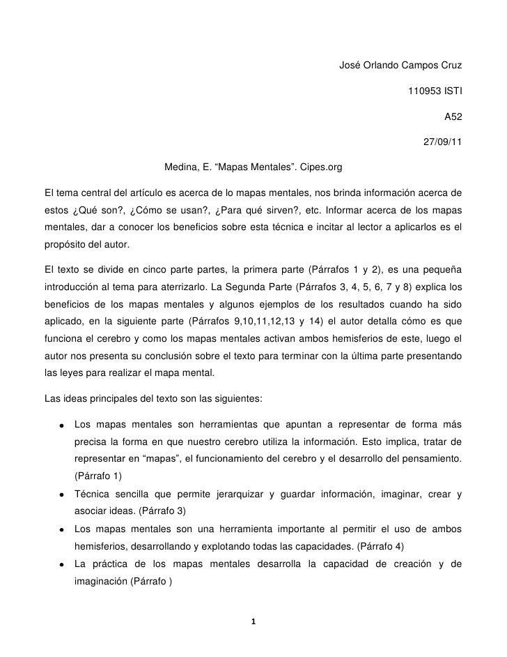 """José Orlando Campos Cruz<br />110953 ISTI<br />A52<br />27/09/11<br />Medina, E. """"Mapas Mentales"""". Cipes.org<br />El tema ..."""