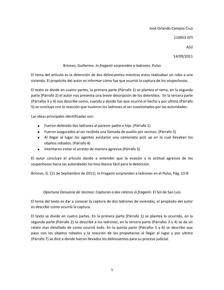 José Orlando Campos Cruz<br />110953 ISTI<br />A52<br />14/09/2011<br />Briones, Guillermo. In fraganti sorprenden a ladro...